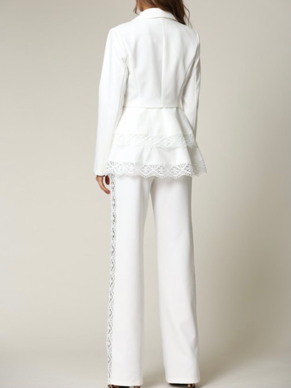 White Lace Trim Wide Leg Pant