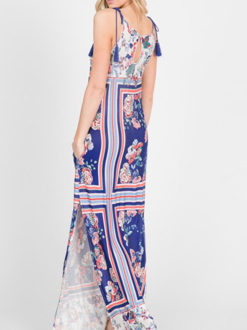 Blue Paisley Maxi Dress