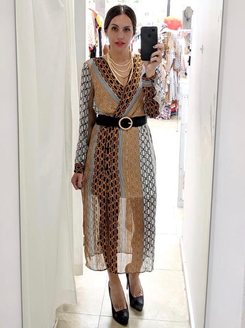 Neutral Print Crossed Midi