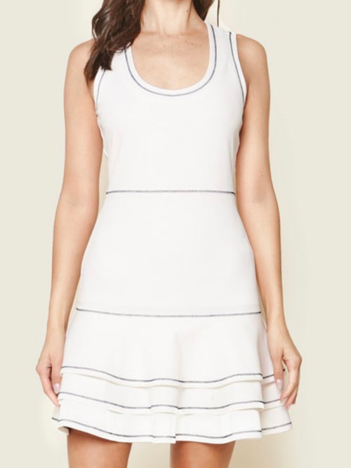 Trim Detail White Bodice Short Dress