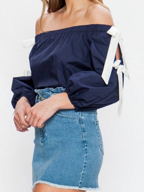 Navy Bow Detail Off Shoulder Top