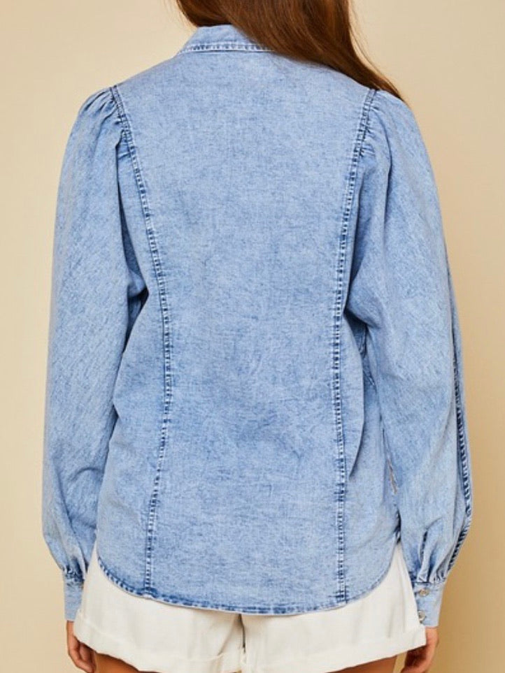 Dolman Balloon Sleeve Denim Blouse