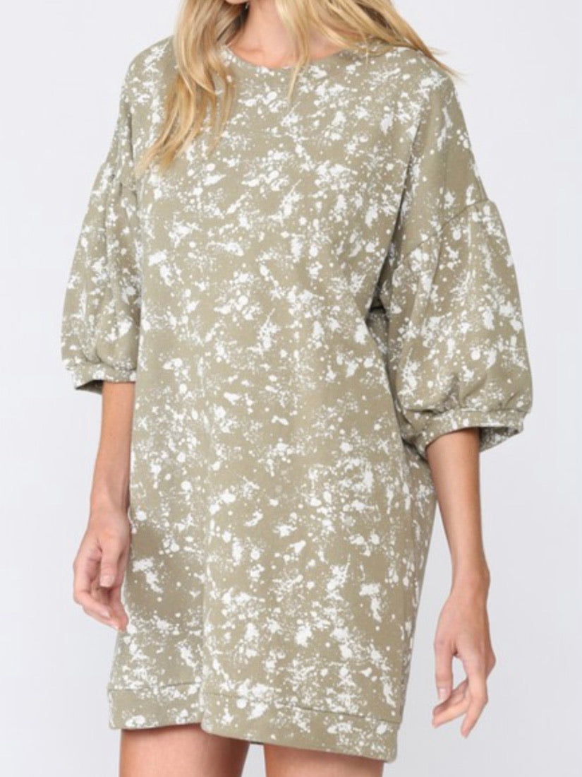 Sage Splatter Terry Dress
