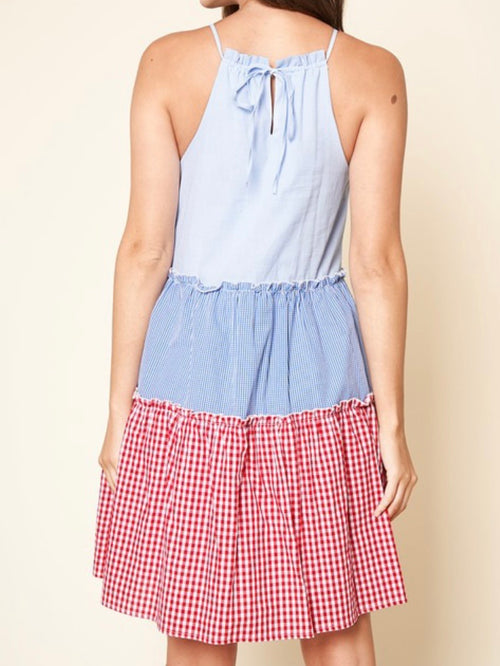 Tiered Gingham Short Dress