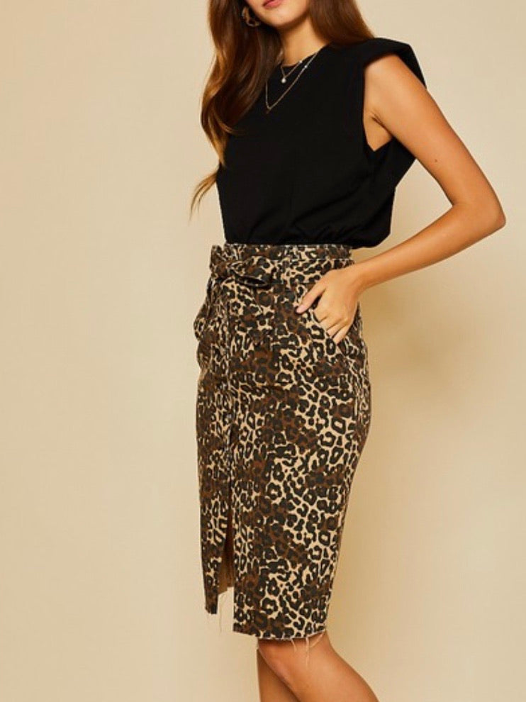 Brown Leopard Pencil Skirt