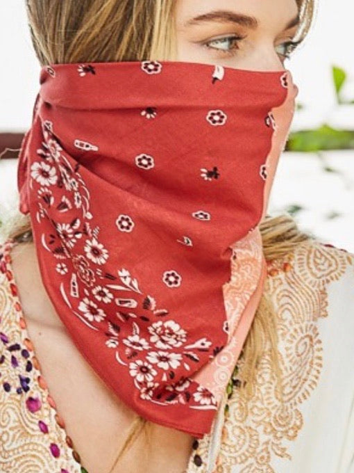 Two Tone WEstern Floral Bandana Facemask
