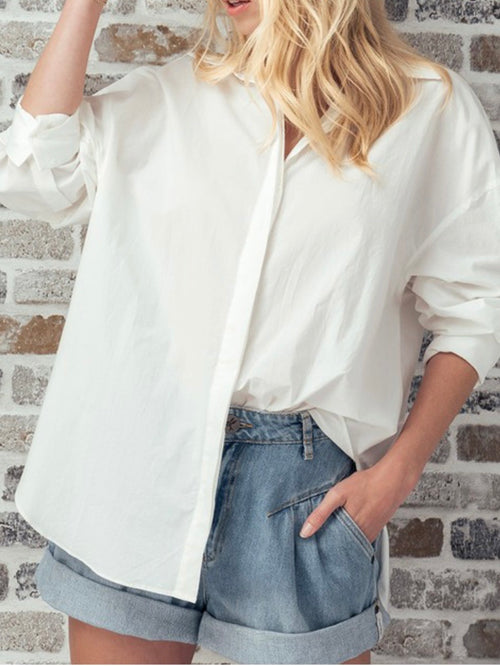 Solid White Button Down Shirt