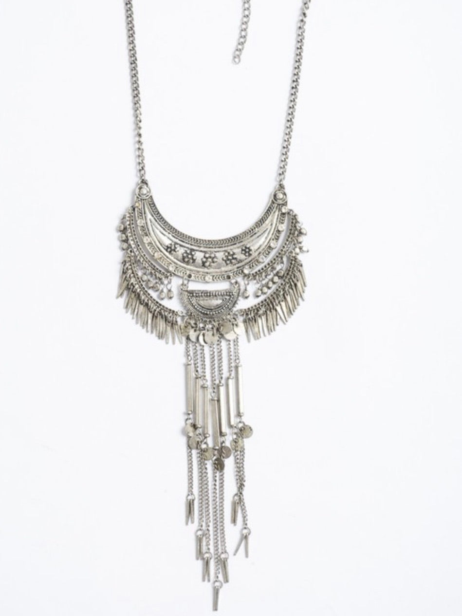Silver Multi layer Statement Necklace