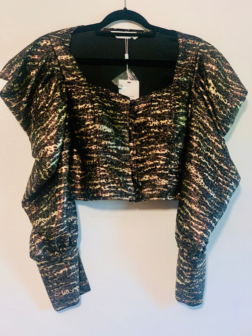 Metallic Cheetah Detail Puff Sleeve Crop Top