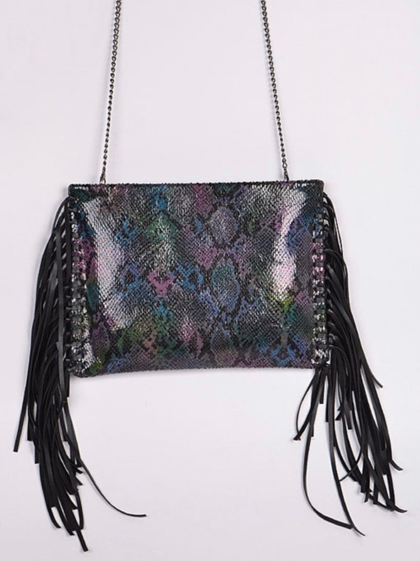 Black Multicolor Snakeskin Fringe bag