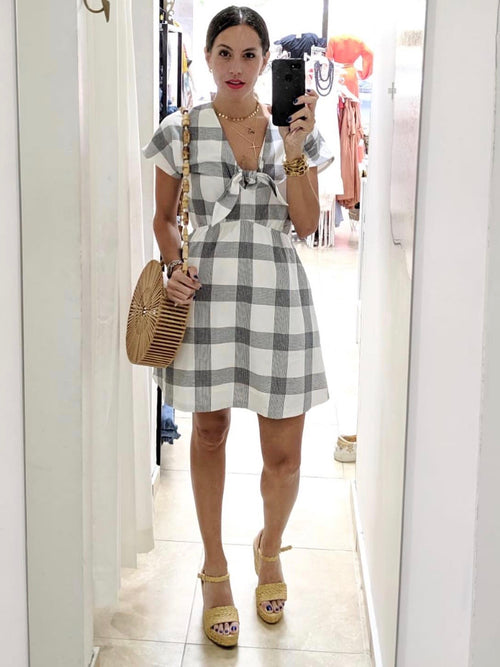 Grey Plaid Knot Dress