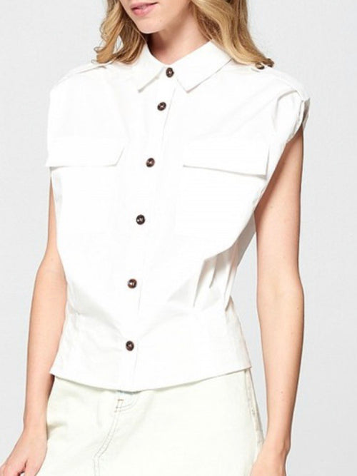 White Structured Sleeveless Blouse