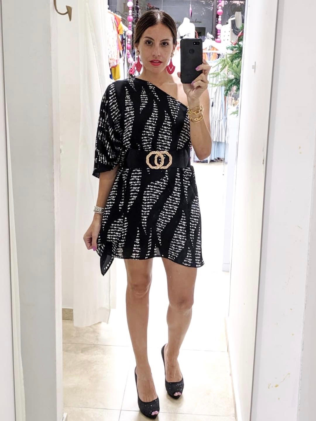 One Shoulder Print Mini Dress