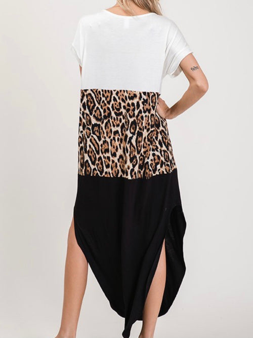 Leopard Color Block V Neck Maxi Dress