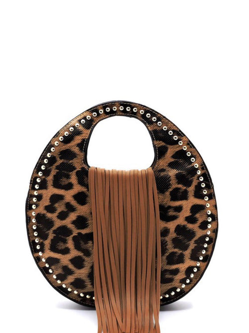 Animal Print Fringe Round Bag