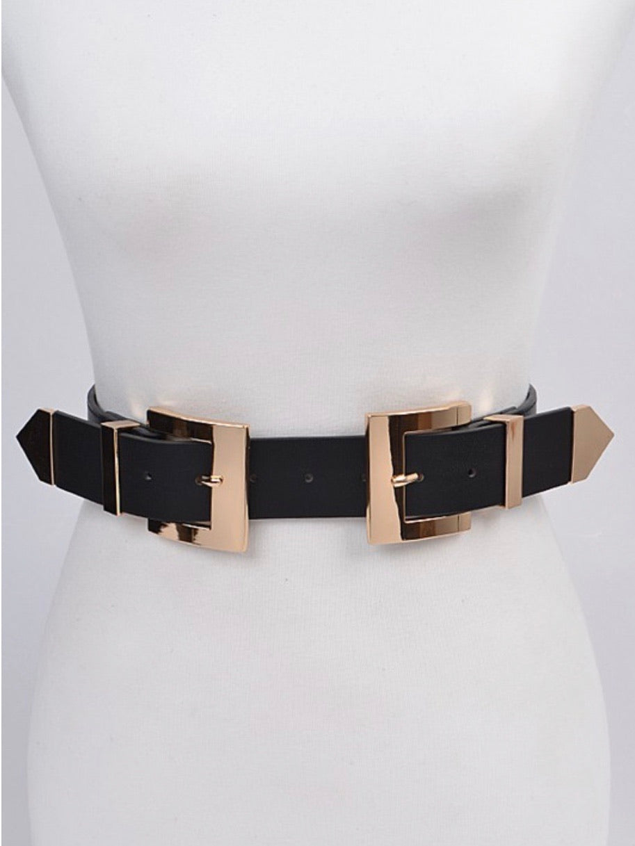 Double Square Buckle Metal Belt