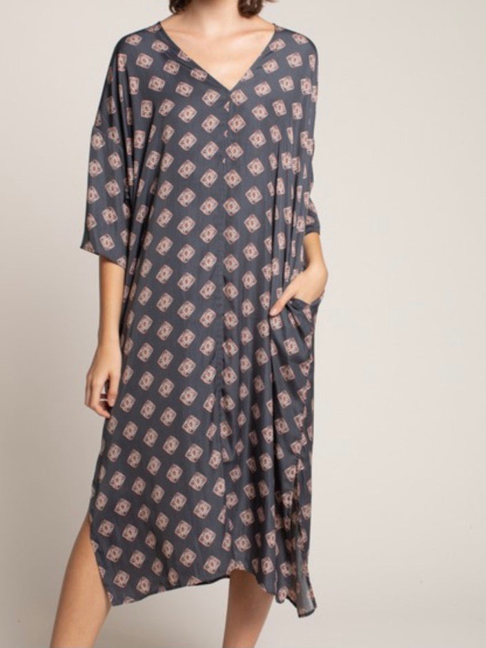 Square Print V Neck Midi Dress