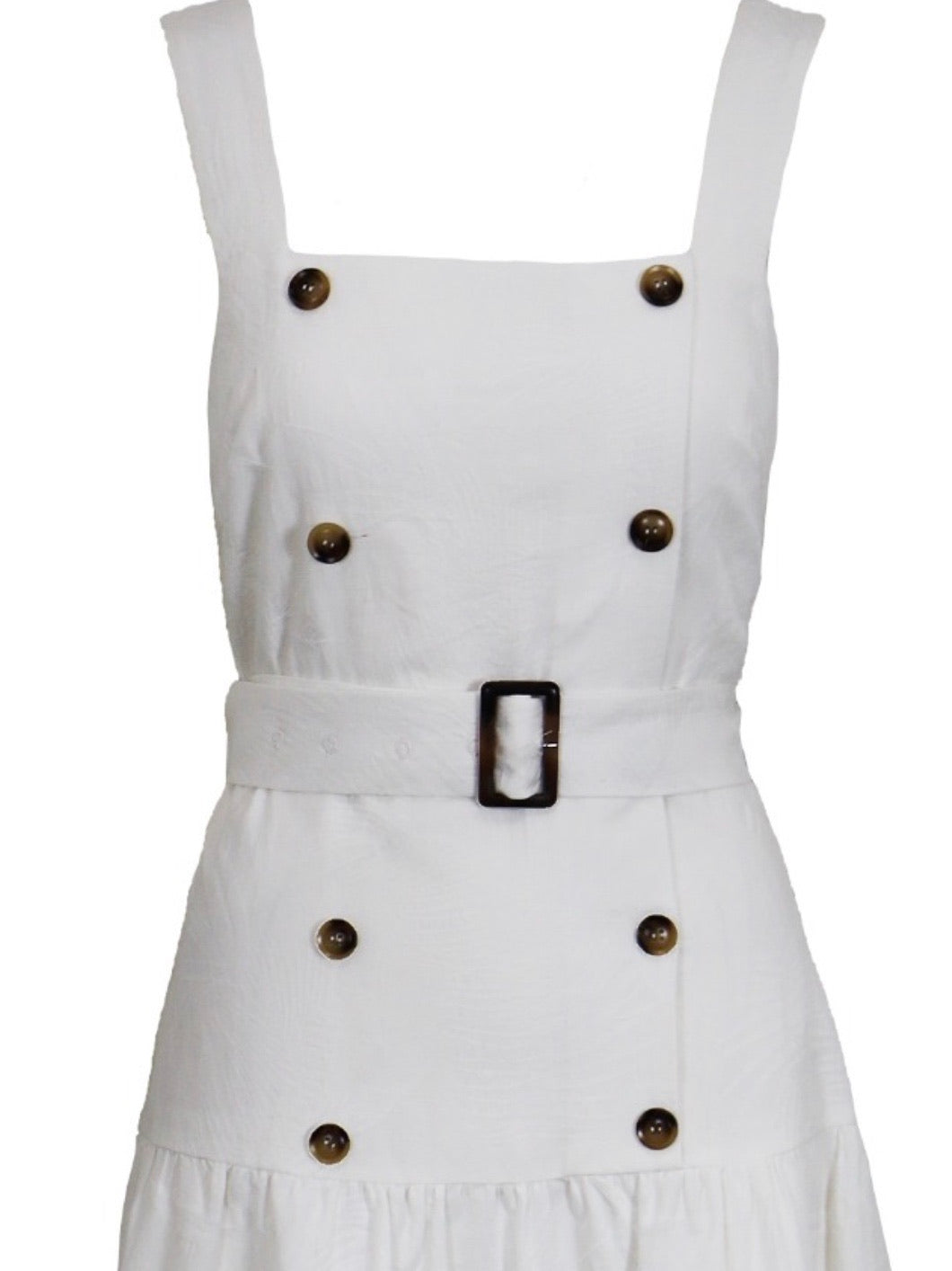 White Textured Button Detail Midi Dress
