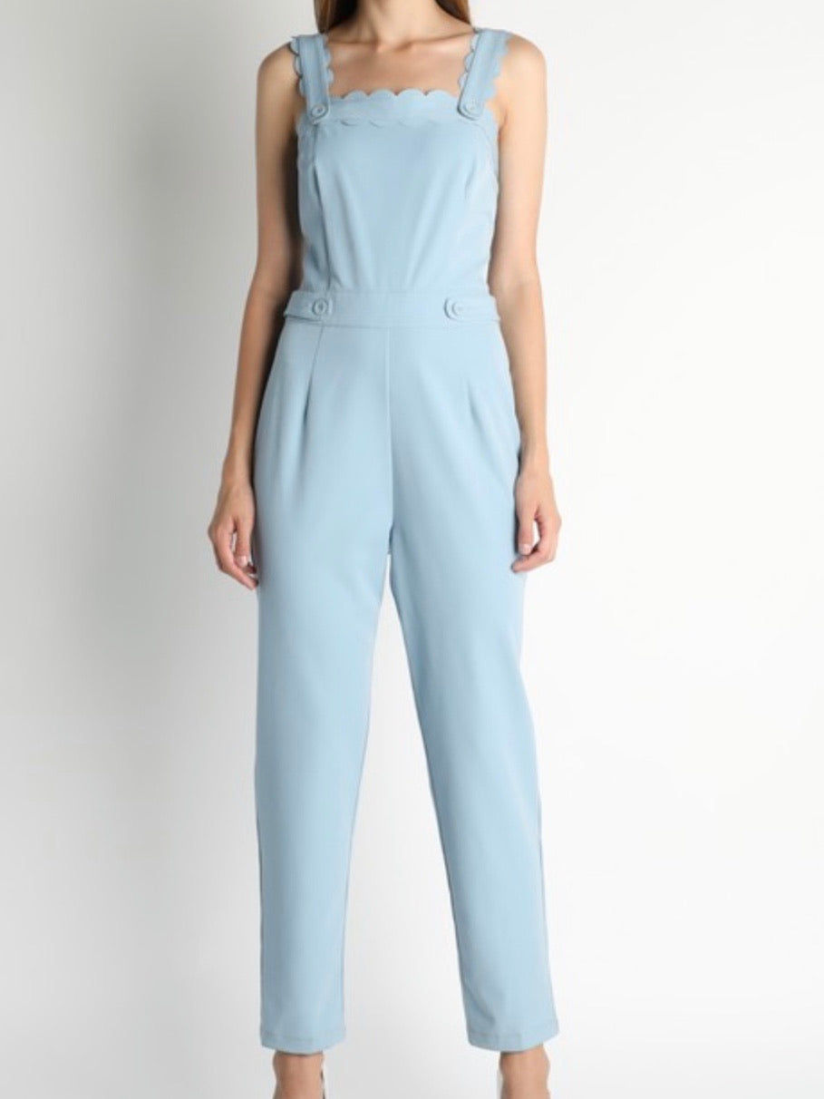 Light BLue Scalloped Jumpsuit