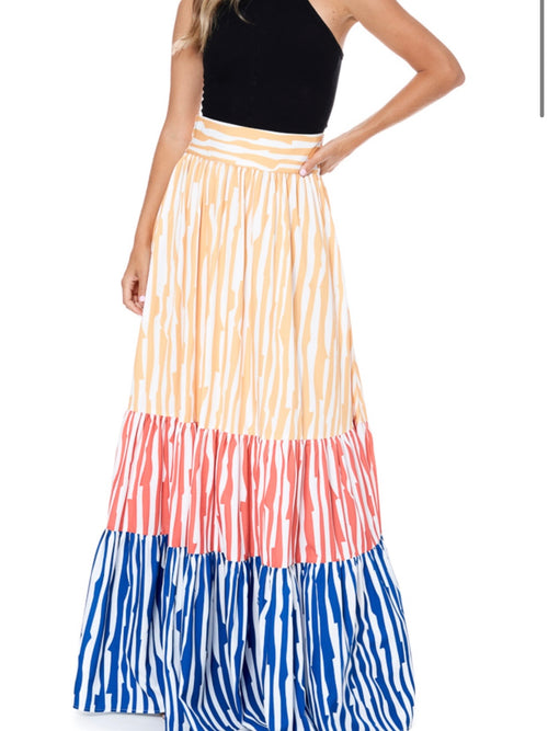 Zebra Color Block Maxi Skirt