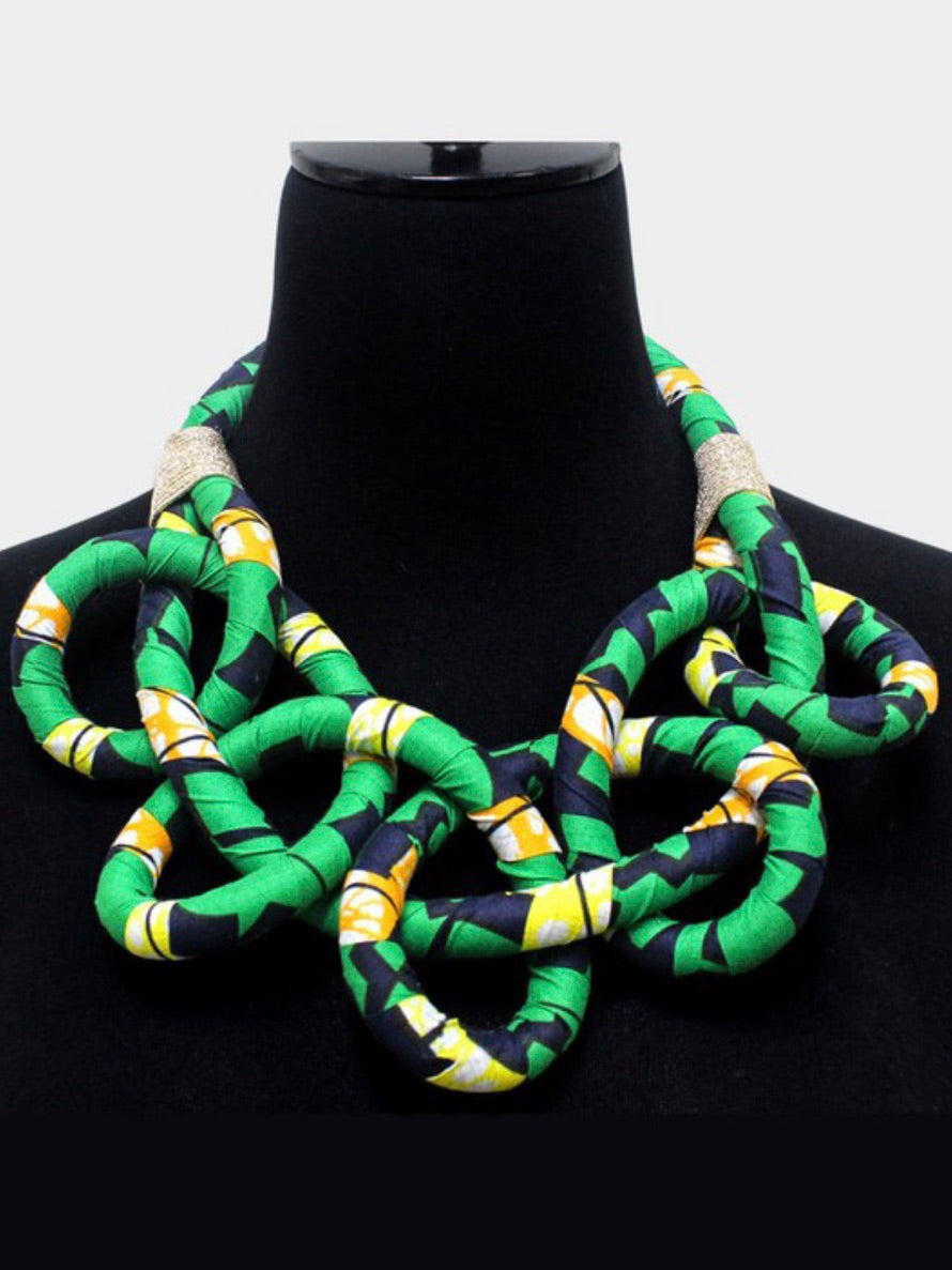Knotted Fabric Bib Necklace