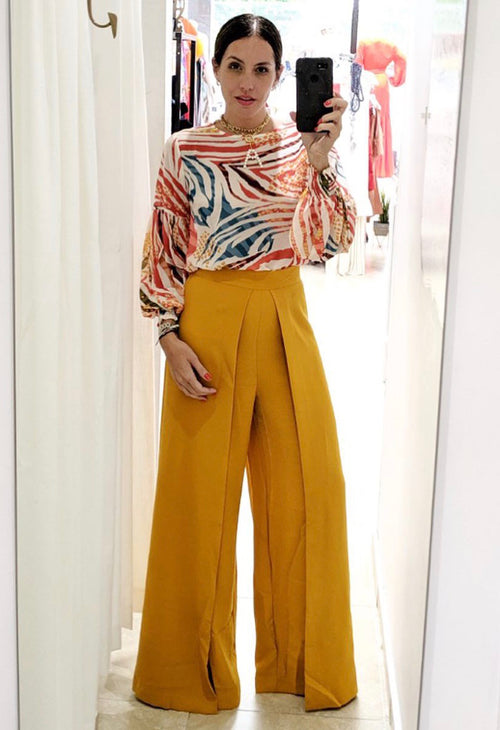 Animal Print Colored Chiffon Blouse