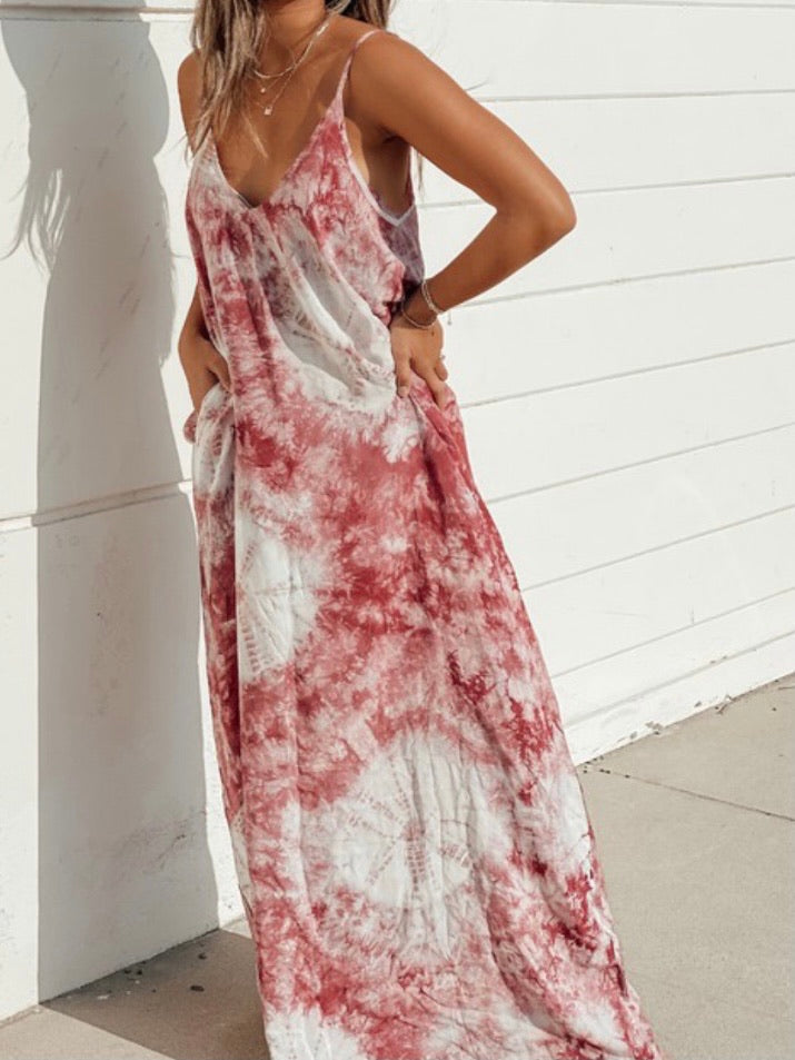 Wine Tie Dye Maxi Dress