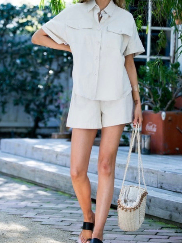 Beige Short Sleeve Button Down Blouse