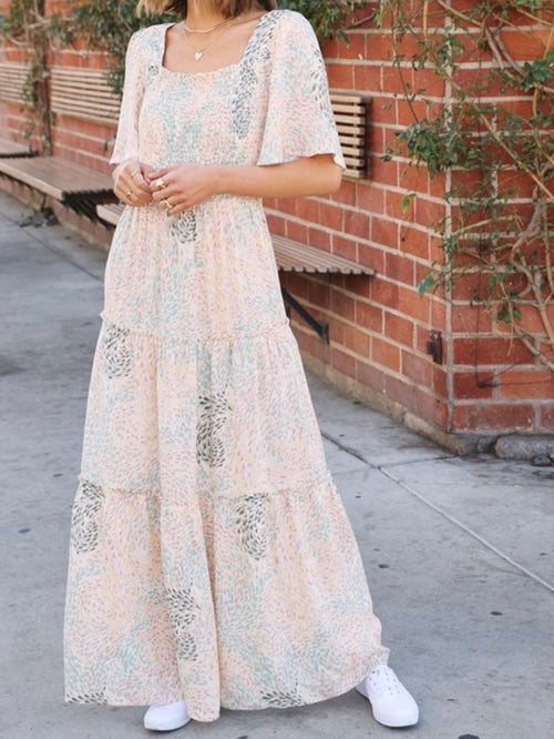 Boho Spring Flutter Sleeve Maxi Dress