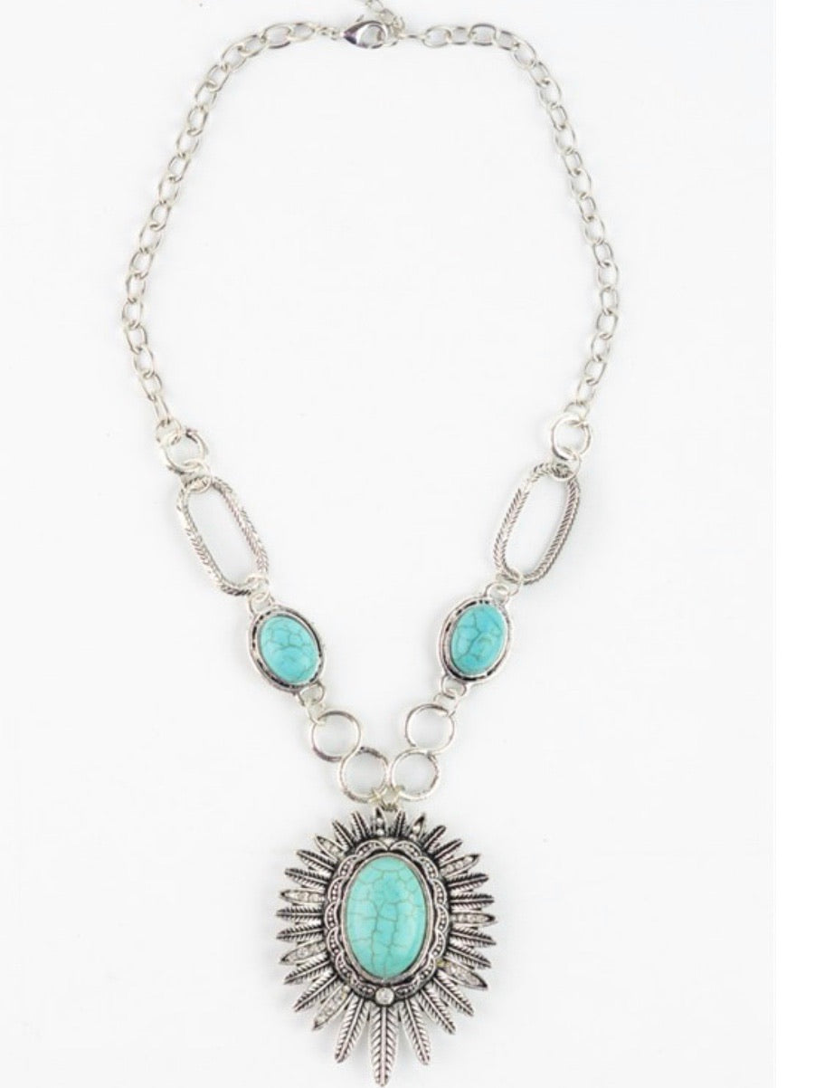 Turquoise sunflower Necklace