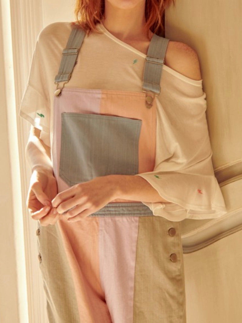 Pastel Color Block Overall