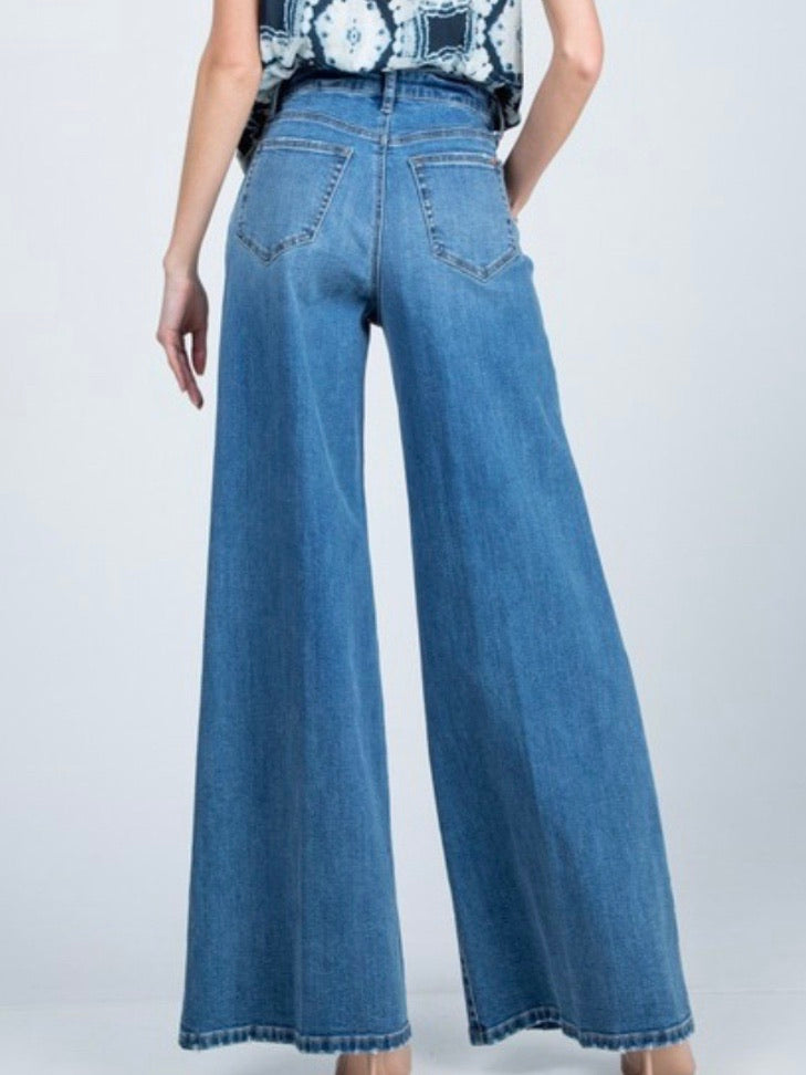 Denim Wide Leg Palazzo Denim