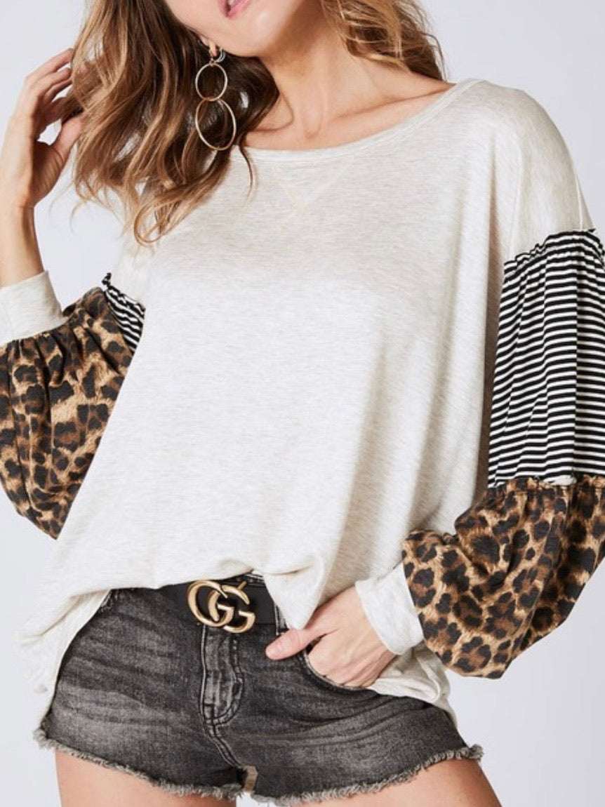 Leopard Block Puff Sleeve Sweater