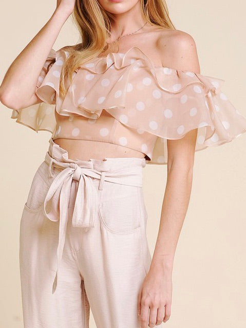 Nude Polka Dot Crop Top