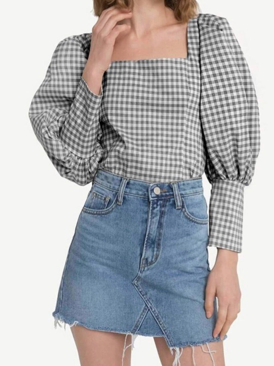 Black White Checkers Bubble Blouse