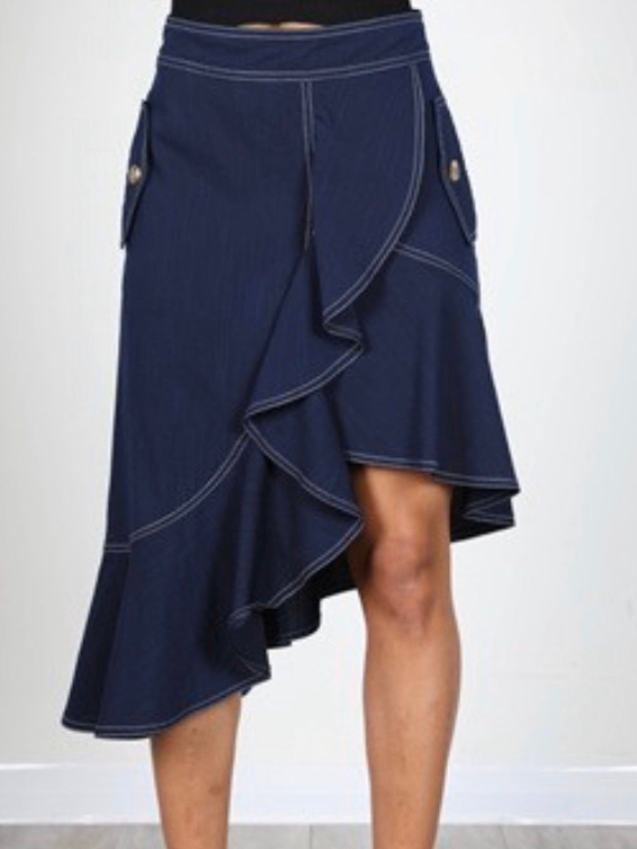 Navy Tiered Asymmetric Skirt