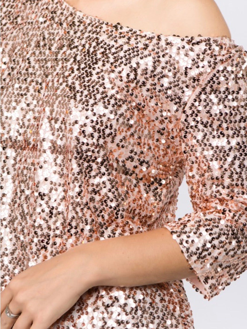Fitted Sequin Off Shoulder Top