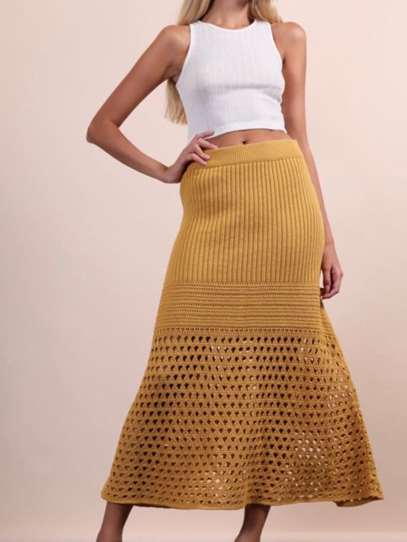 Boho Chic Knit Midi Skirt