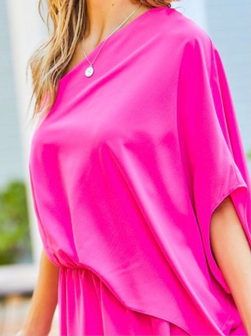 One Shoulder Draped Maxi Dress