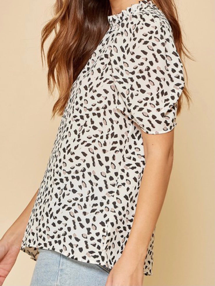 Natural Leopard Print Puff Sleeve Blouse