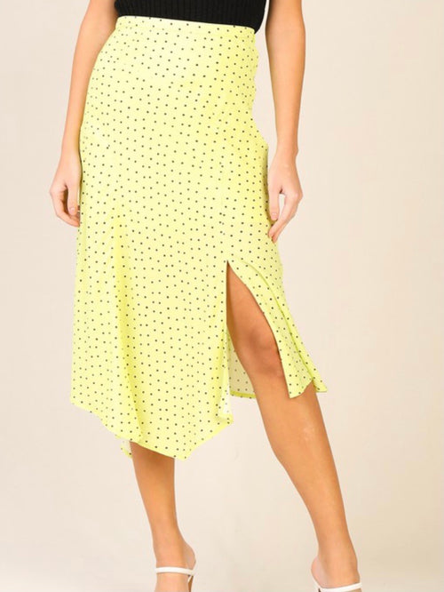 Lime Polka Dot Midi Skirt