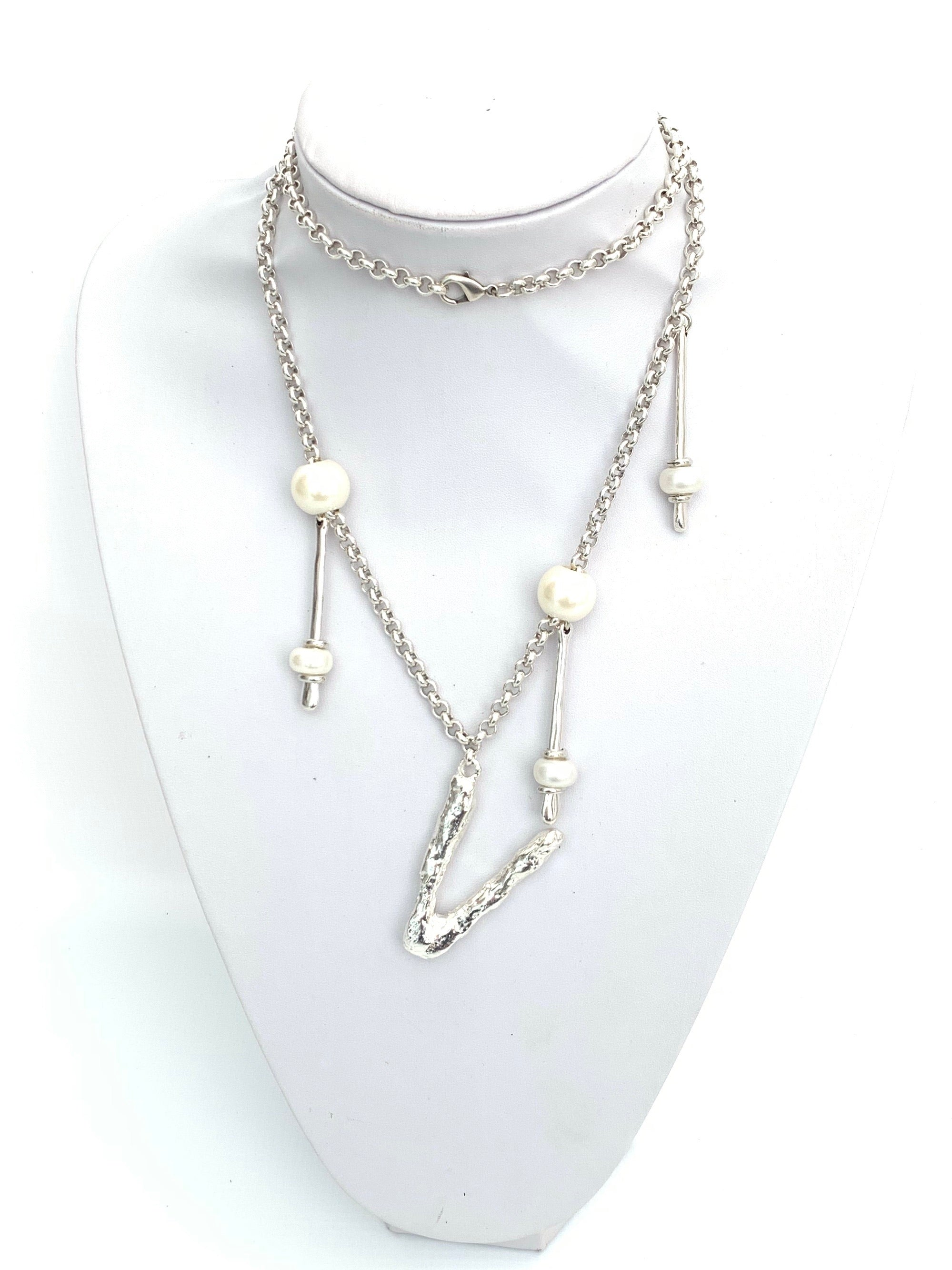 V Initial Pearls Long Necklace