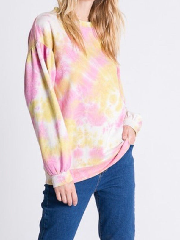 Pink Tie Dye Puff Sleeve Sweater