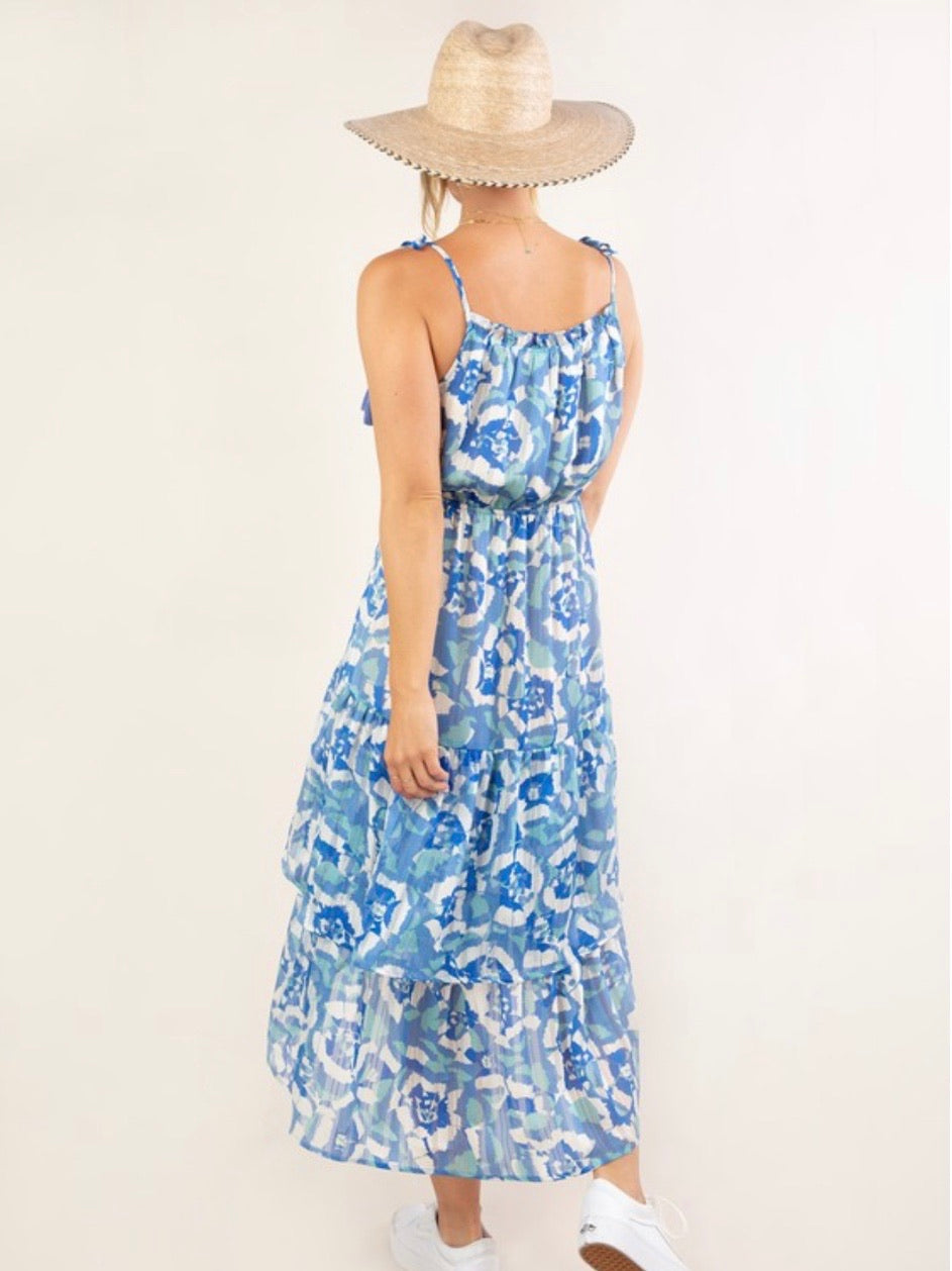 Blue Abstract Hi Low Dress
