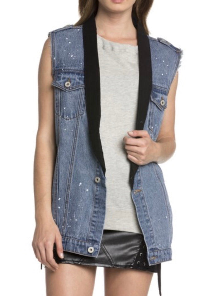 Black Detail Denim Vest