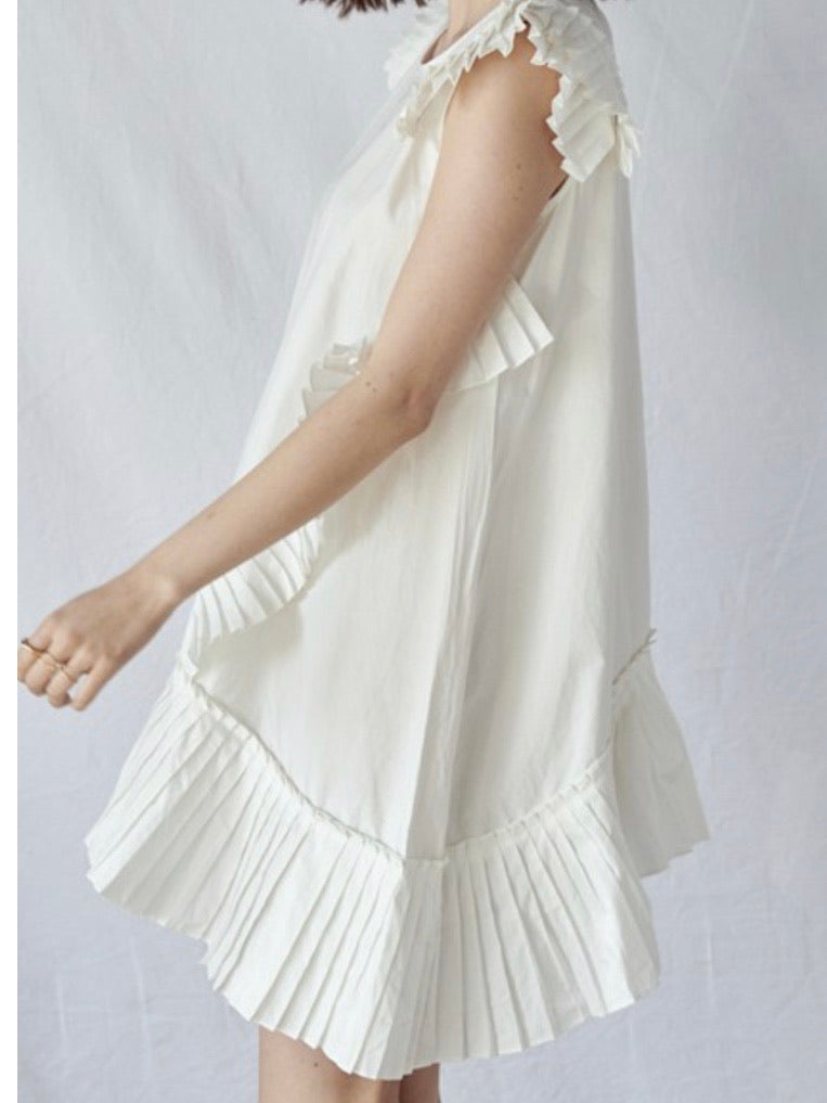 Pleated Details Swing Dress