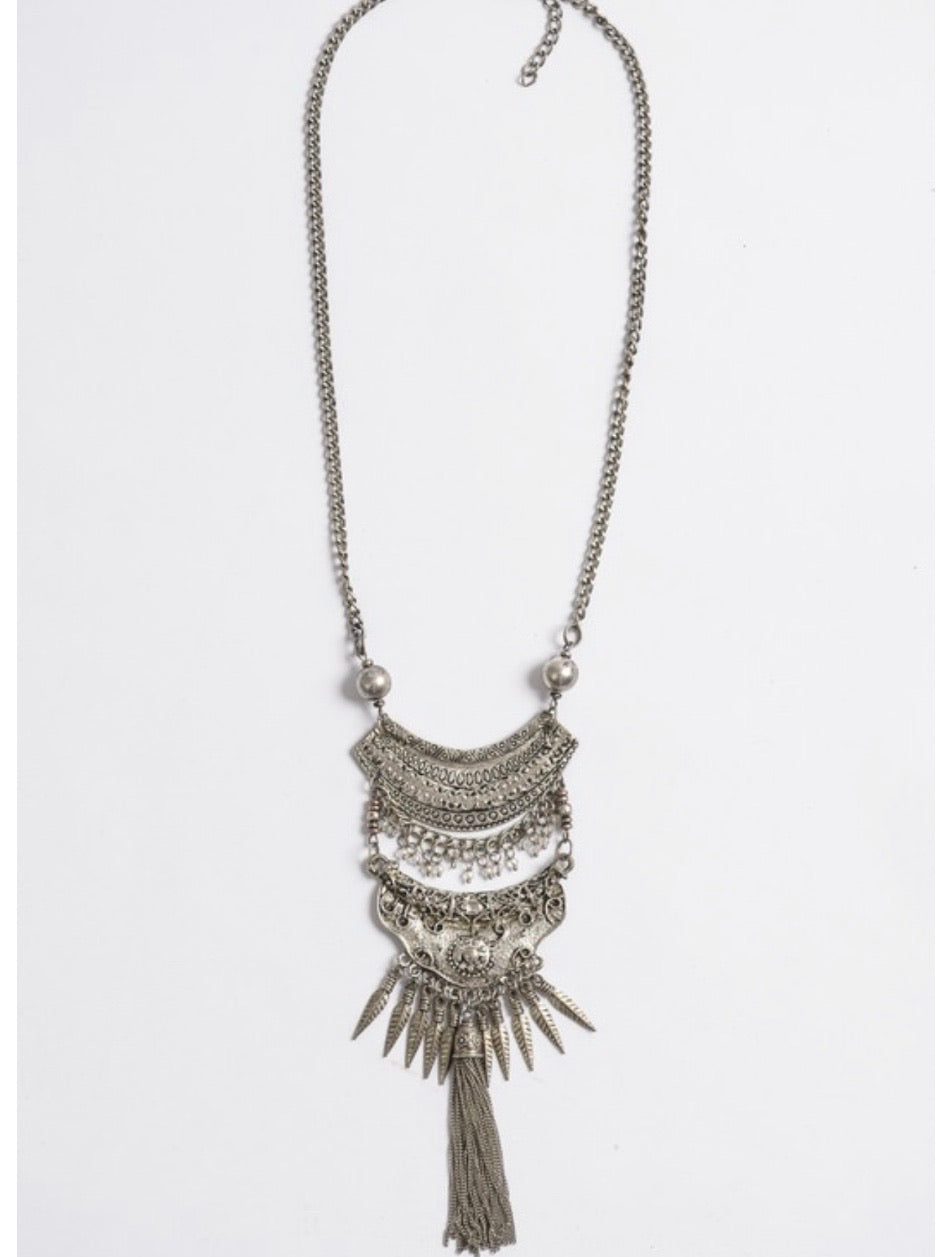 Fringe Drop Multilayer Necklace