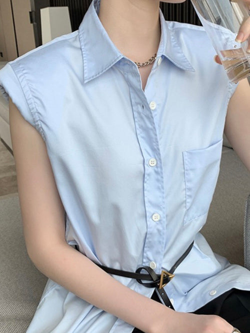 Padded Button Down Blouse