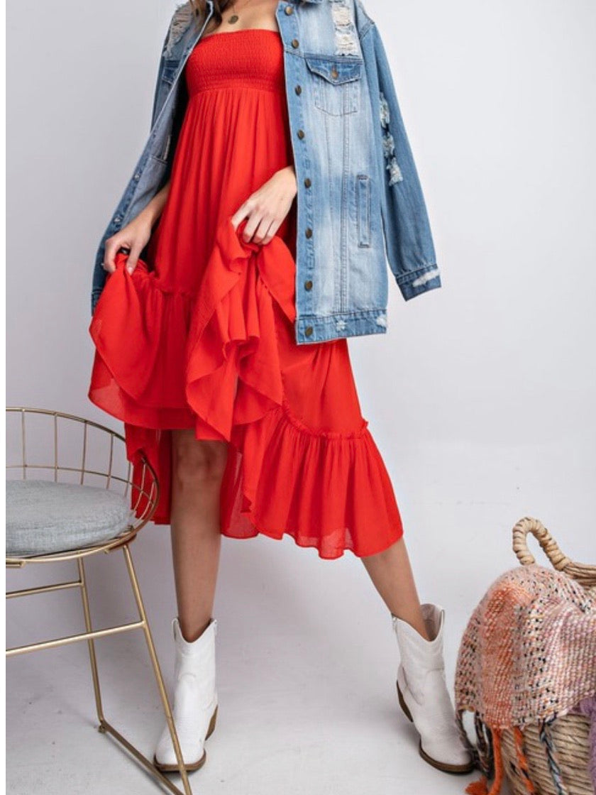 Hot Coral Tiered Midi Skirt