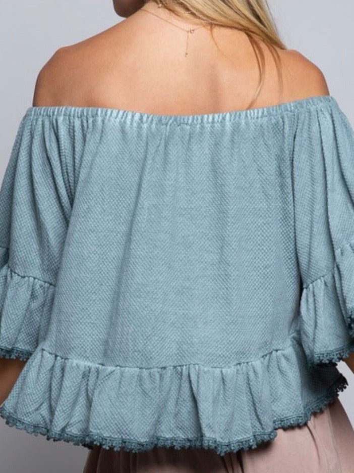 Blue Sage Flared Off Shoulder Top
